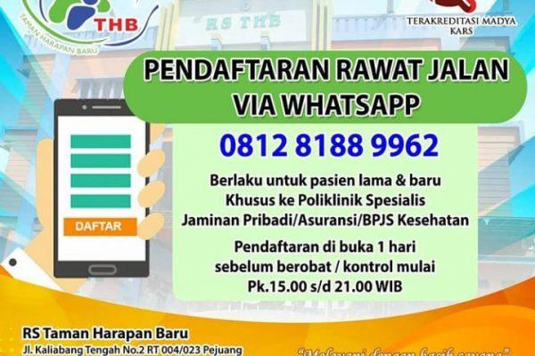 Untuk melayani Masyarakat dengan CEPAT maka RS.THB meluncurkan Pendaftaran Rawat Jalan melalui Aplikasi WhatsApp